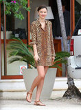 Miranda Kerr covered up in a stylish leopard-print look.