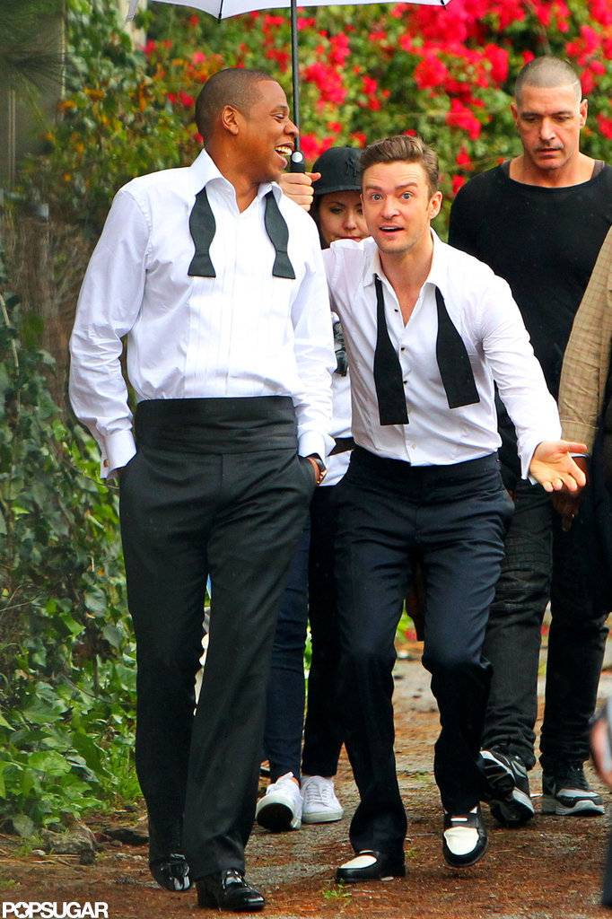 Jay-Z and Justin Timberlake wore tuxedos to film their music video.