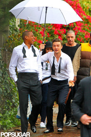 "Justin Timberlake and Jay-Z Let Loose on the Set of ""Suit & Tie"""