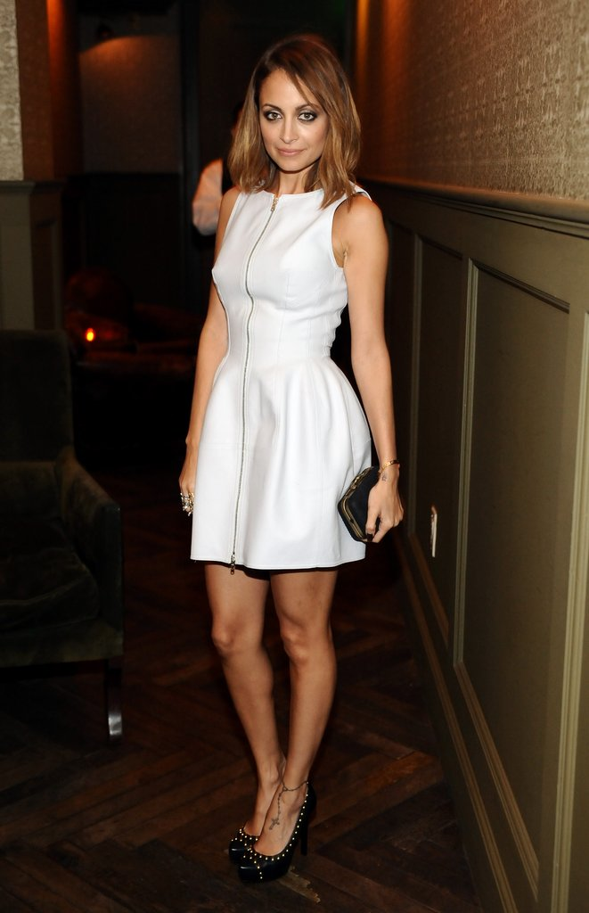 Nicole Richie wore white to the Elle event.