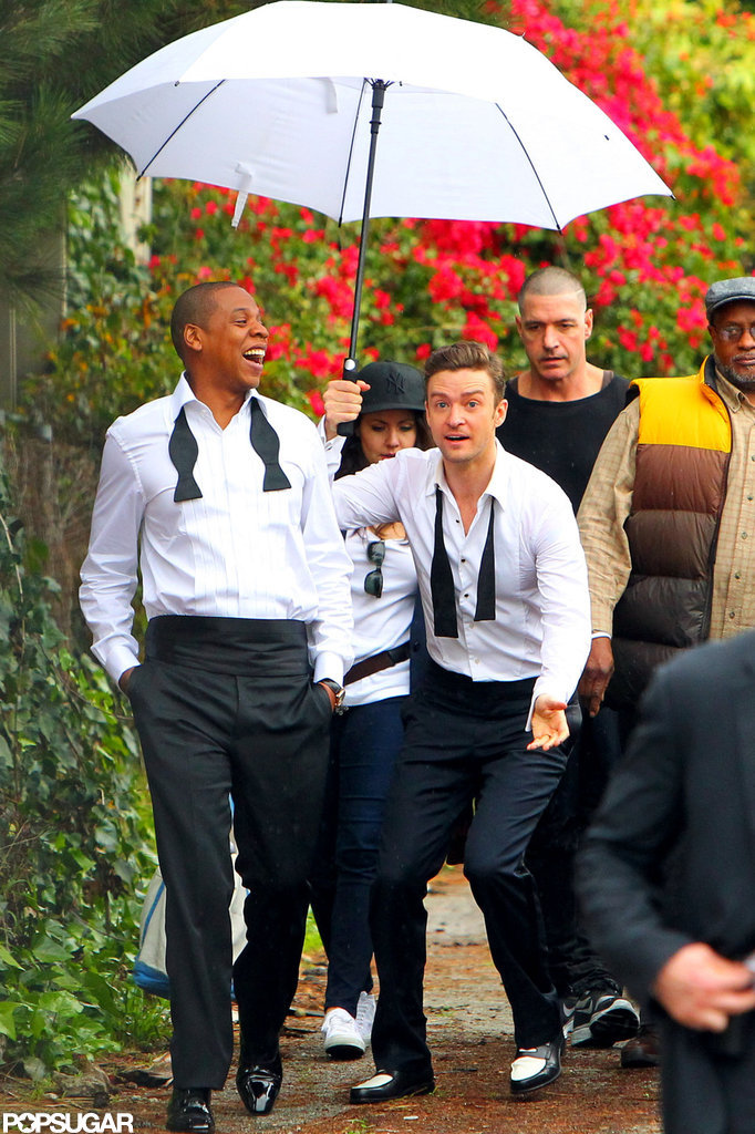 Justin Timberlake and Jay-Z shared a laugh on set.