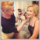 Angela Kinsey got her makeup done before the SAG Awards. Source: Instagram user angelakinsey