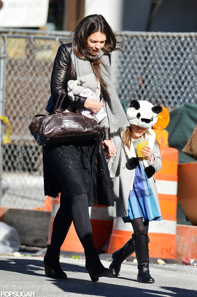 Katie Holmes Takes On Chilly NYC With Suri — and Suri's Panda Hat