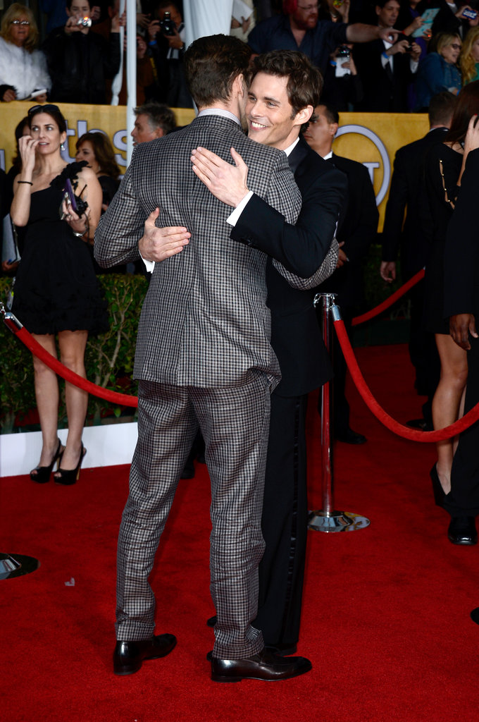 Justin Timberlake hugged pal James Marsden on the red carpet.