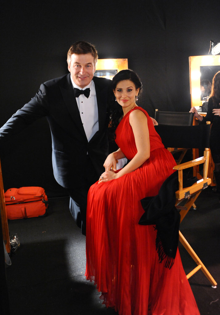 Winner Alec Baldwin took a break backstage with his wife, Hilaria Thomas.