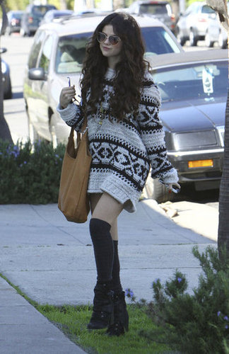 Selena Gomez stayed cozy while hanging out in this Free People fair isle sweater ($101, originally $168).