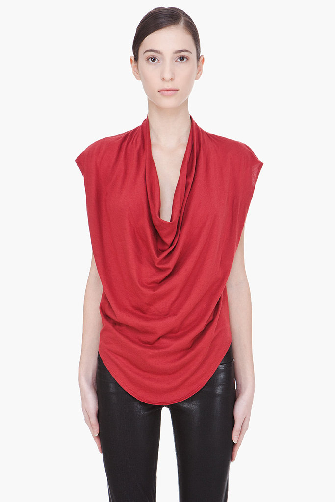 Let the rich red hue on this Helmut Lang Dark draped blouse ($62, originally $125) shine by pairing it with black pants.