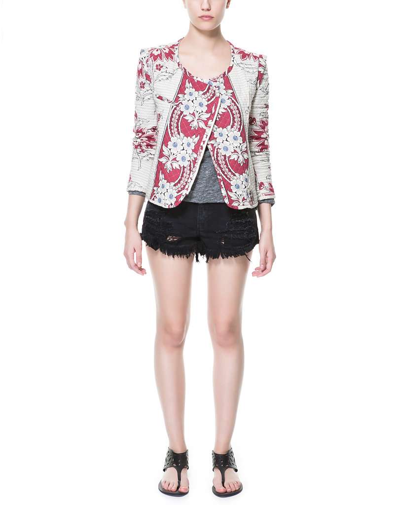 We adore the floral print on Zara's quilted jacket ($100). Just pair it with leather skinnies and a draped sweater for a cozy, textural look.