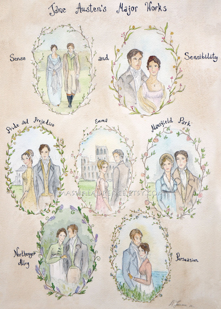 This beautiful major works of Jane Austen print ($10) features the couples from her six major works.