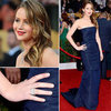 Jennifer Lawrence in Navy Christian Dior at 2013 SAG Awards