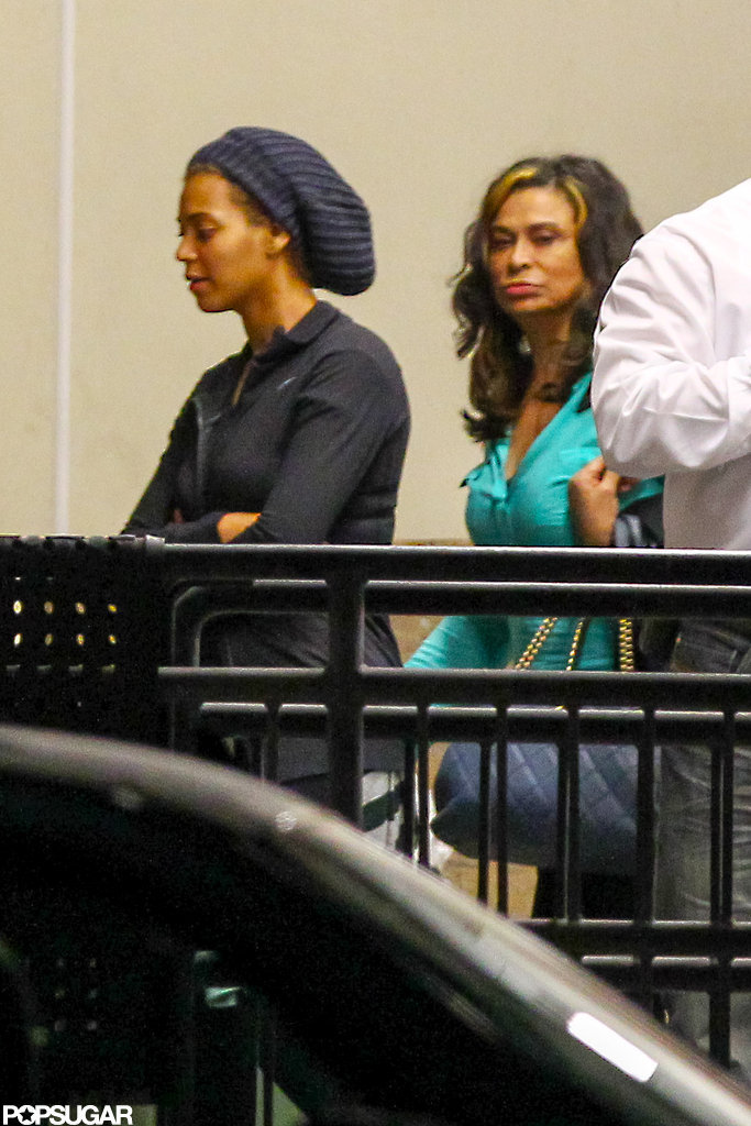 Beyoncé Knowles arrived in New Orleans accompanied by her mom, Tina Knowles, to begin rehearsing for her Super Bowl halftime show.