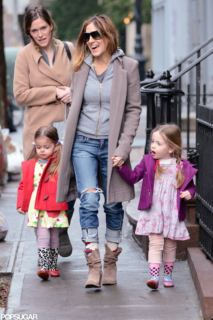 SJP Takes Her Twins For a Spring Stroll in the City