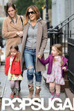Sarah Jessica Parker held her daughters' hands as they walked together in NYC.