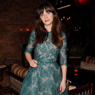 Zooey Deschanel's Green Lace Dress at Glamour Party