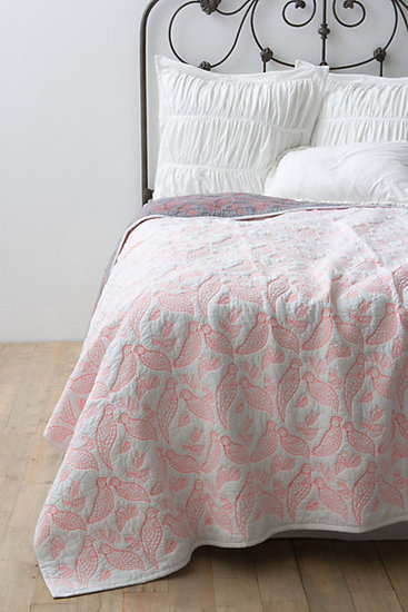 Give your bedding a sweet, romantic touch with this aviary coverlet ($198).