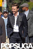 Justin Timberlake wore a tuxedo on set.
