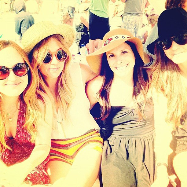 Lauren Conrad and her friends rocked hats during Coachella 2012.  Source: Instagram user laurenconrad