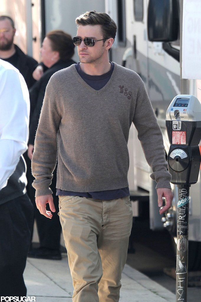 Justin Timberlake arrived on set in LA.