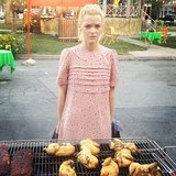 Jaime King's Hart of Dixie character, Lemon Breeland, was not thrilled to be barbecuing chicken . . . even in Marc Jacobs. Source: Instagram user justjustinnyc