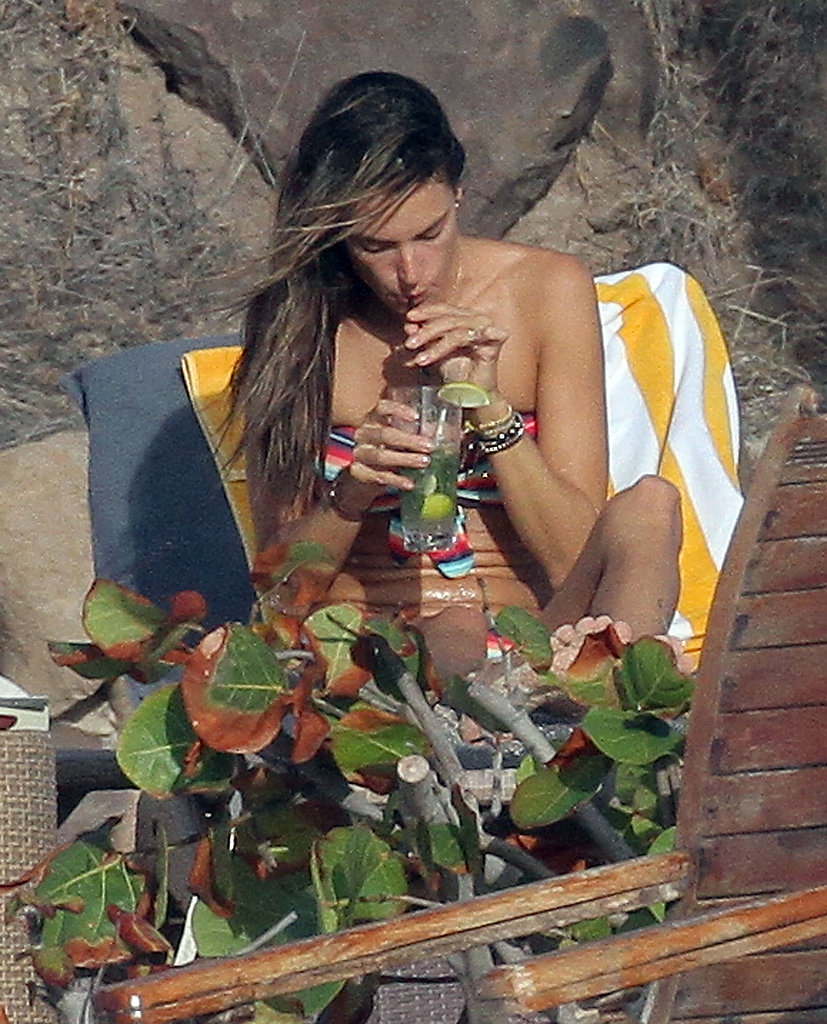 Alessandra Ambrosio sipped on a beverage while on break in St. Barts.