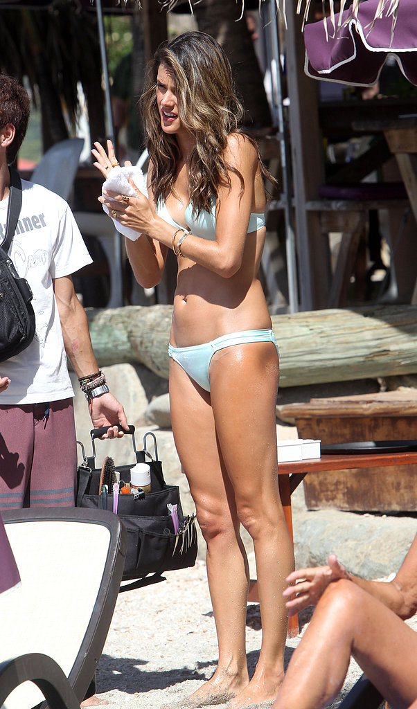 Alessandra Ambrosio prepped for her Victoria Secret photo shoot Thursday in St. Barts.