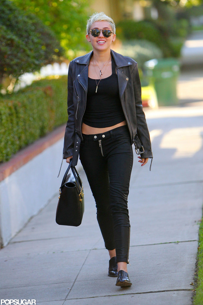 Miley Cyrus stepped out in black for a walk in LA.