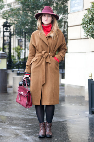 Raspberry hues united and gave this classic coat a rich contrast. Source: Adam Katz Sinding