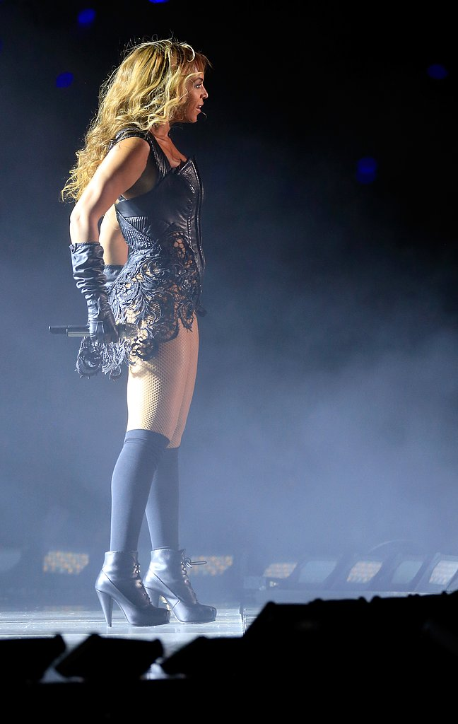 Beyoncé completed the costume with knee-high socks and a pair of Proenza Schouler boots.