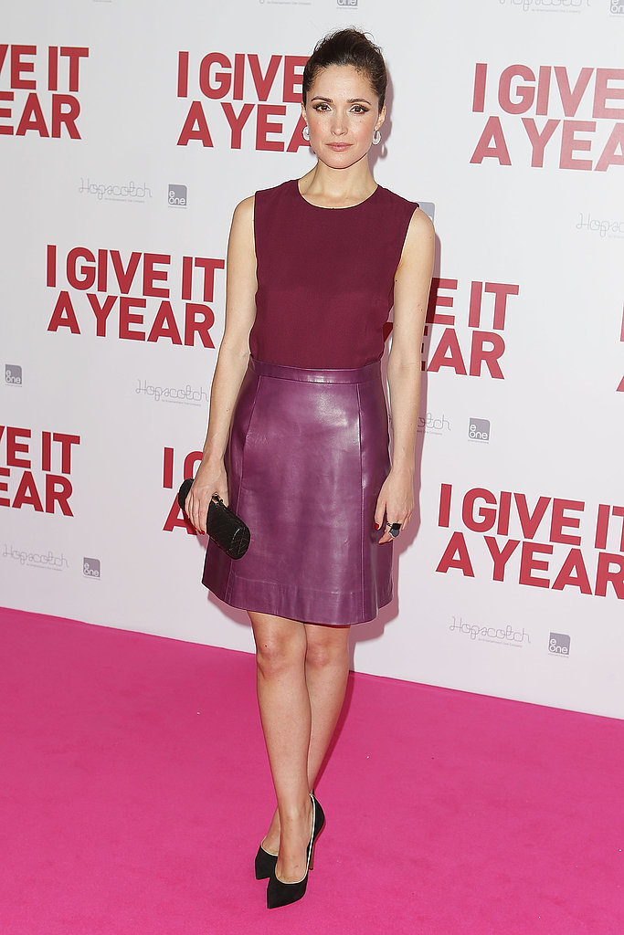 Rose Byrne may have worn this to a premiere, but it could easily pass for office attire, too. Although the skirt is leather and in a standout hue, the key here is to pair it with a similar color. A monochromatic look is sophisticated and can be topped off with classic black pumps.
