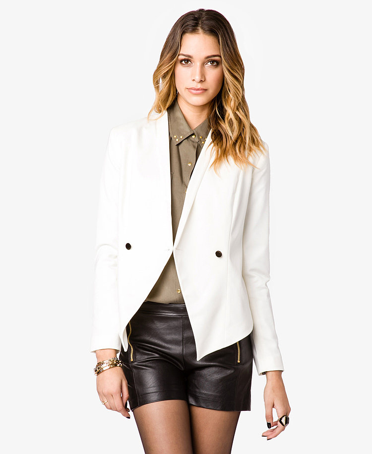 This double-breasted blazer ($35) is unique because of its tuxedo style.