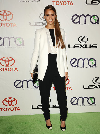 Make a crisp black-and-white ensemble your ultimate go-to day-to-night outfit. Give the classic combo a twist by going for unexpected pieces — a white blazer instead of a black one or cap-toe pumps like Jessica Alba's — for a look that's sharp but worthy of fun.