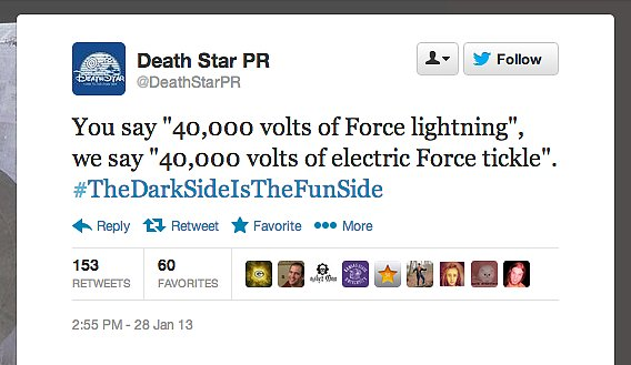 You can practically hear Senator Palpatine cackling behind this tweet from the unofficial Death Star PR team.
