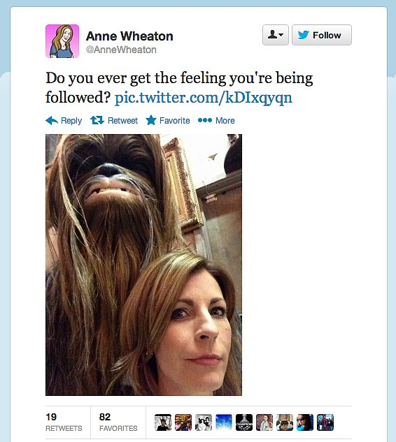 StarTrek: TNG actor Wil Wheaton better watch out. Looks like someone's got an eye on wife Anne Wheaton.