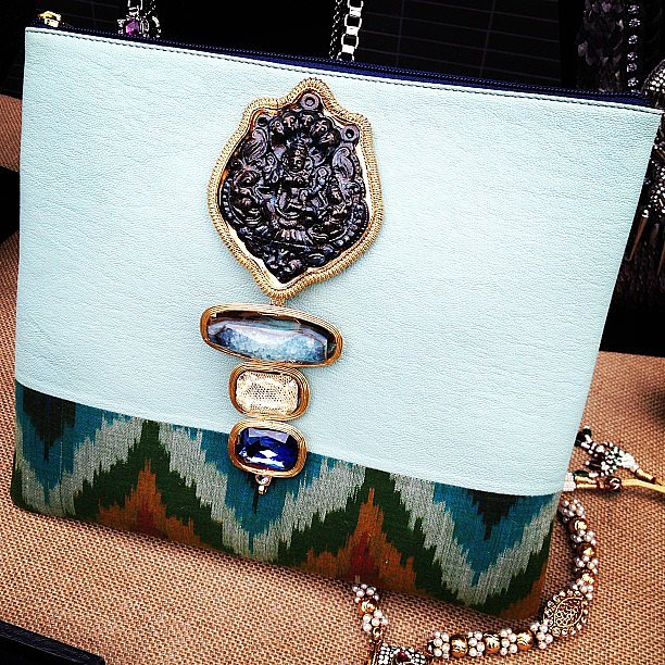 How fun are the major embellishments (and ikat trim) on this bag at L-Atitude?