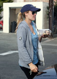 Lauren Conrad wore a gray zip-up and sunglasses for a hike in LA.