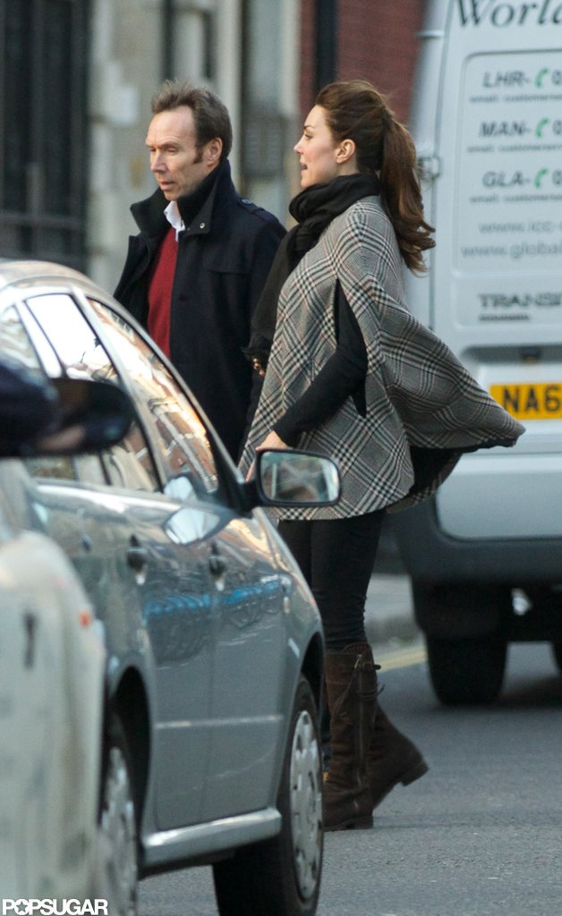 Kate Middleton covered her baby bump with a cape.  Source: Topstar Pictures