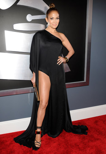 Jennifer Lopez showed some leg in her black Anthony Vaccarello dress.