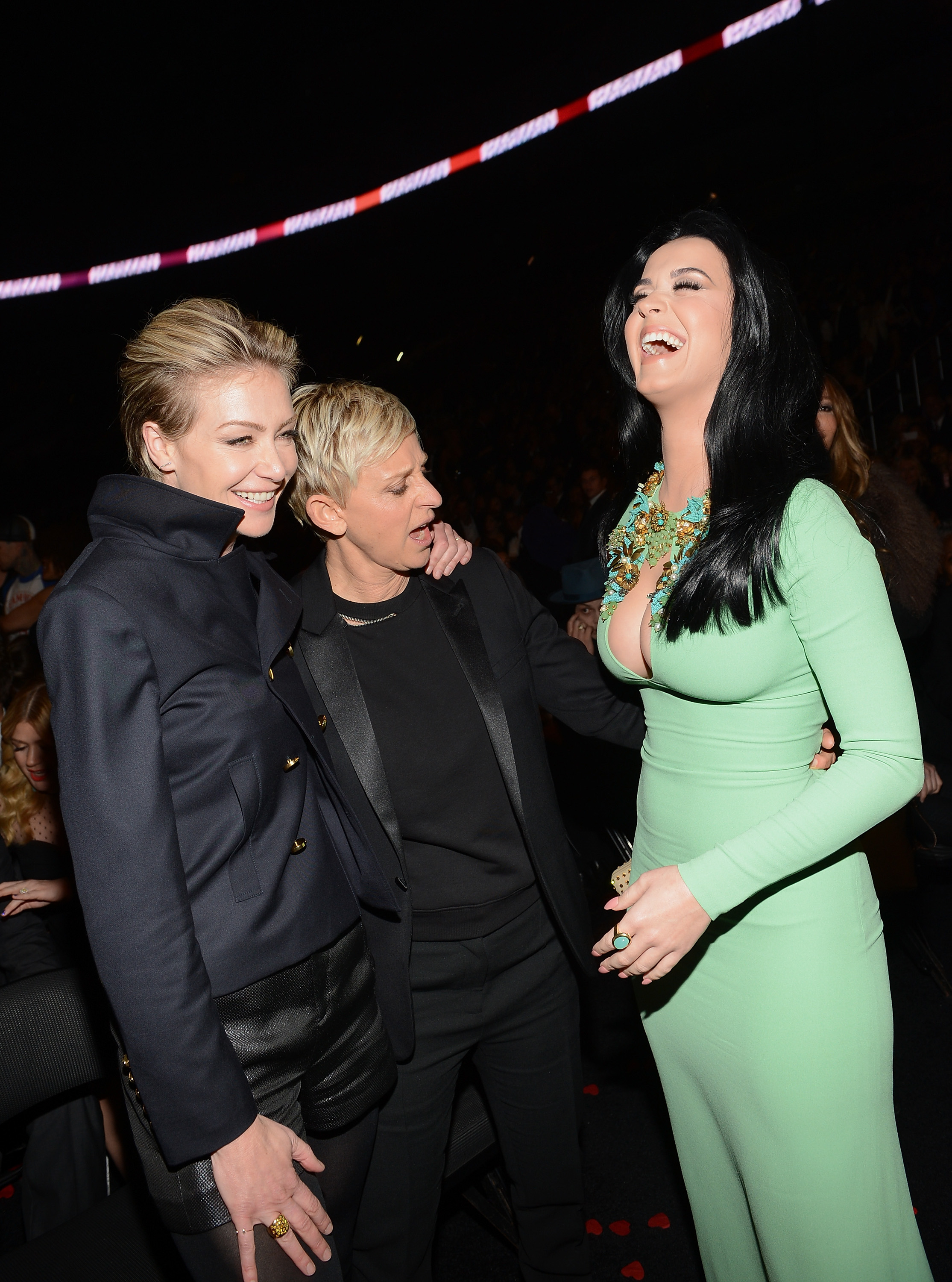 Ellen DeGeneres and Portia de Rossi got a good look at Katy Perry's dress at the 2013 Grammys.