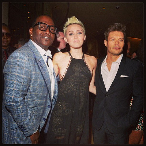 American Idol's Randy Jackson and Ryan Seacrest posed with Miley Cyrus at the Grammys. Source: Instagram user Randy Jackson