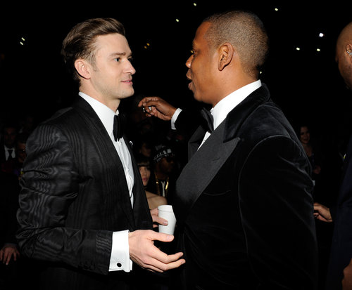 Justin Timberlake went in for a hug with Jay-Z during the show.