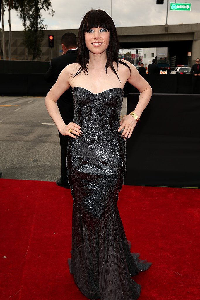 Carly Rae Jepsen wore a long black dress.