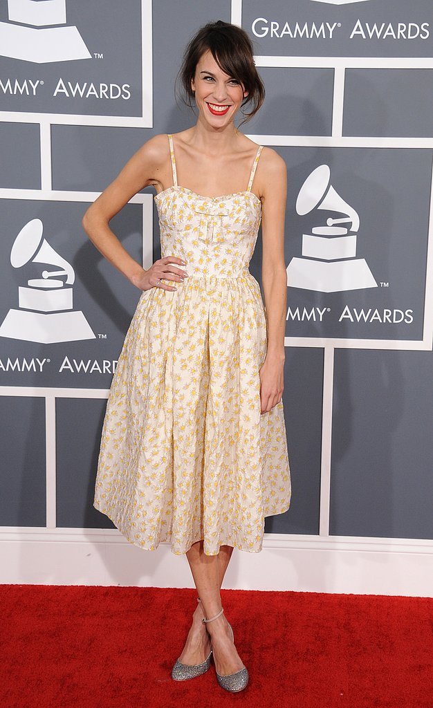 Alexa Chung struck a sweet pose at the Grammys.