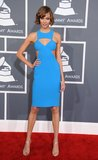 Karlie Kloss sported a blue dress.