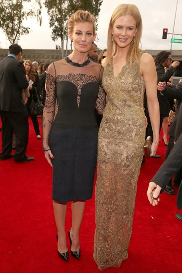 Nicole Kidman and Faith Hill posed at the Grammys Sunday night.