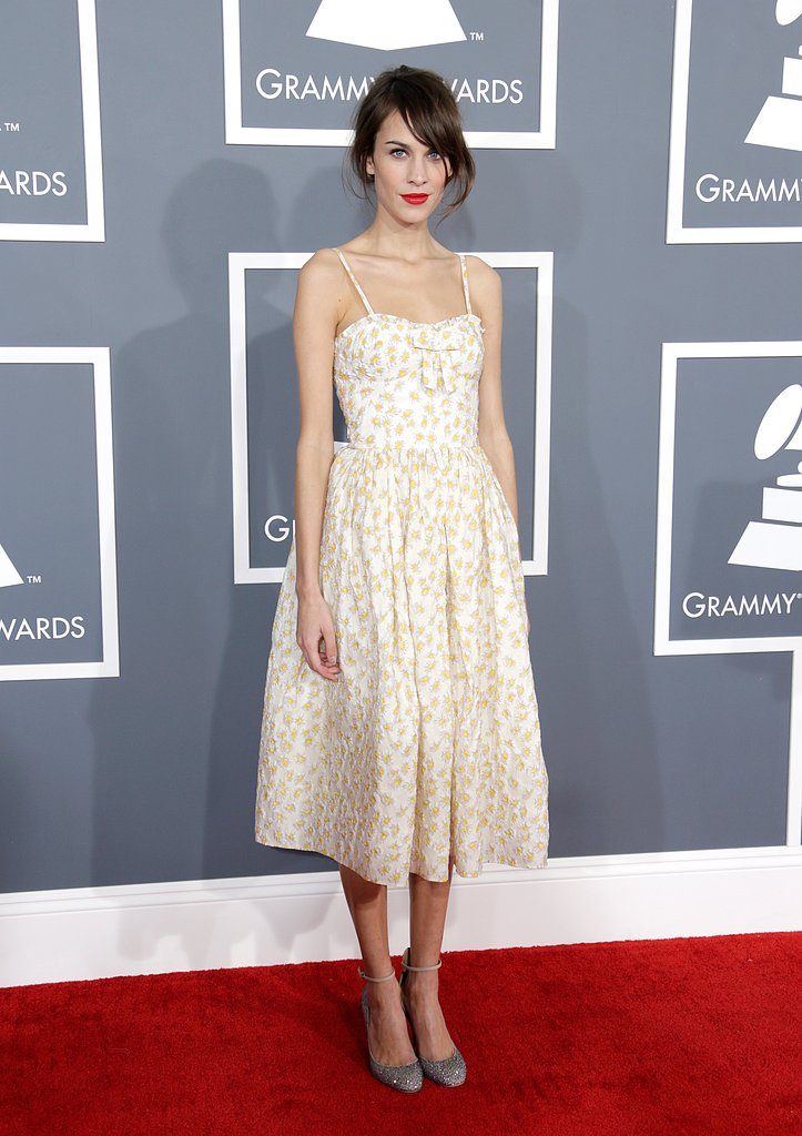 Alexa Chung wore a floral-print dress to the Grammys.