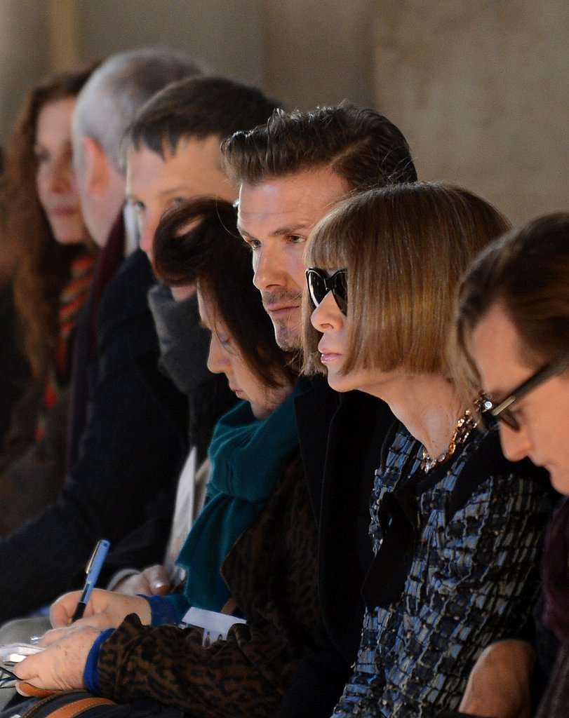 David Beckham sat next to Anna Wintour for Victoria Beckham's collection in NYC in February.