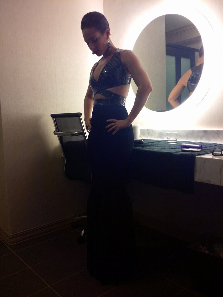 Alicia Keys gave her twitter followers a first look at her Alaïa dress. Source: Twitter user AliciaKeys