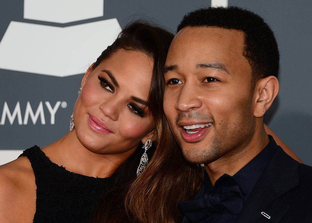 Chrissy Teigen rested her head on fiancé John Legend's shoulder.