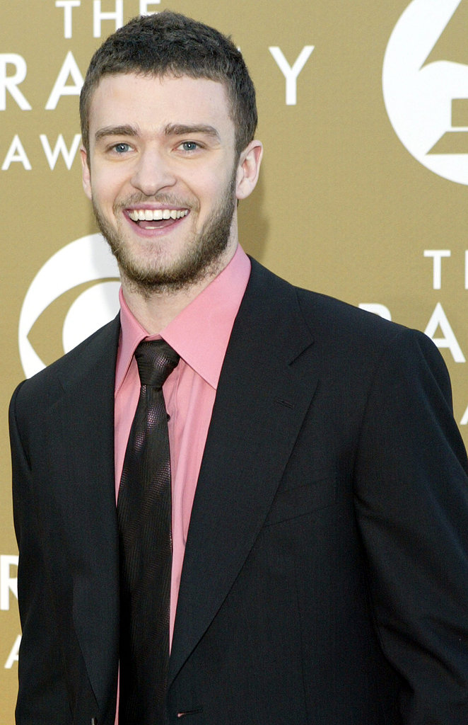 A scruffy JT was all smiles at the 2004 Grammys.