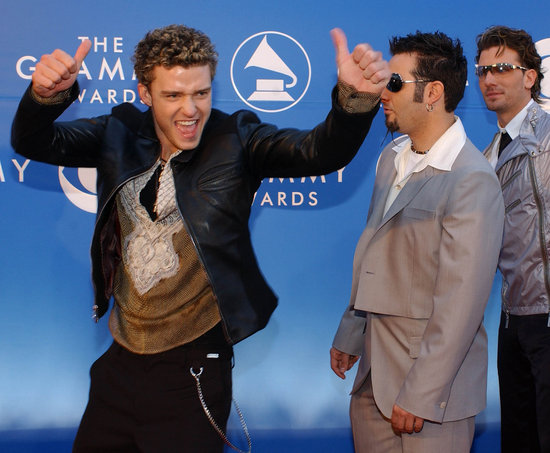At the 2002 Grammys, Justin goofed off with his fellow bandmates.